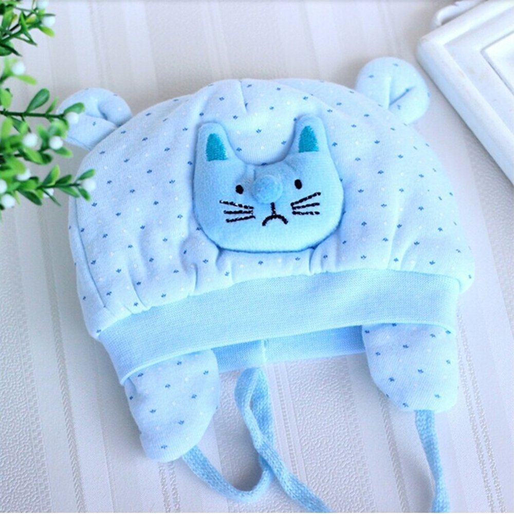 Gifts Are Blue Baby Girls Cute Kitty Polka Dot Blue Baby Hat for 0 to 4 Months