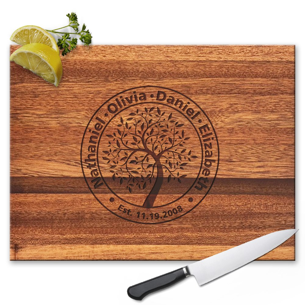 Froolu Family Tree Wood Cutting board for Kids Name Engraved Housewarming Gifts