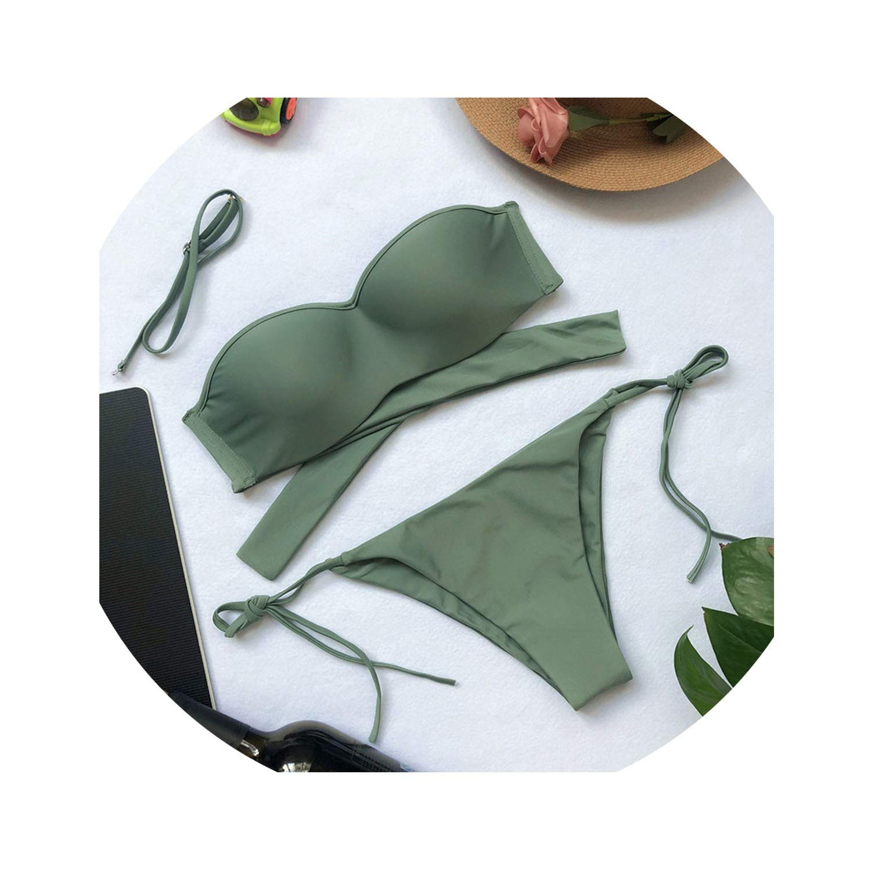 SHILINWEI High Waist Padded Bikinis 2019 Two Piece Swimsuit Bathing Suits Sport String Bikini Set Swimwear Female