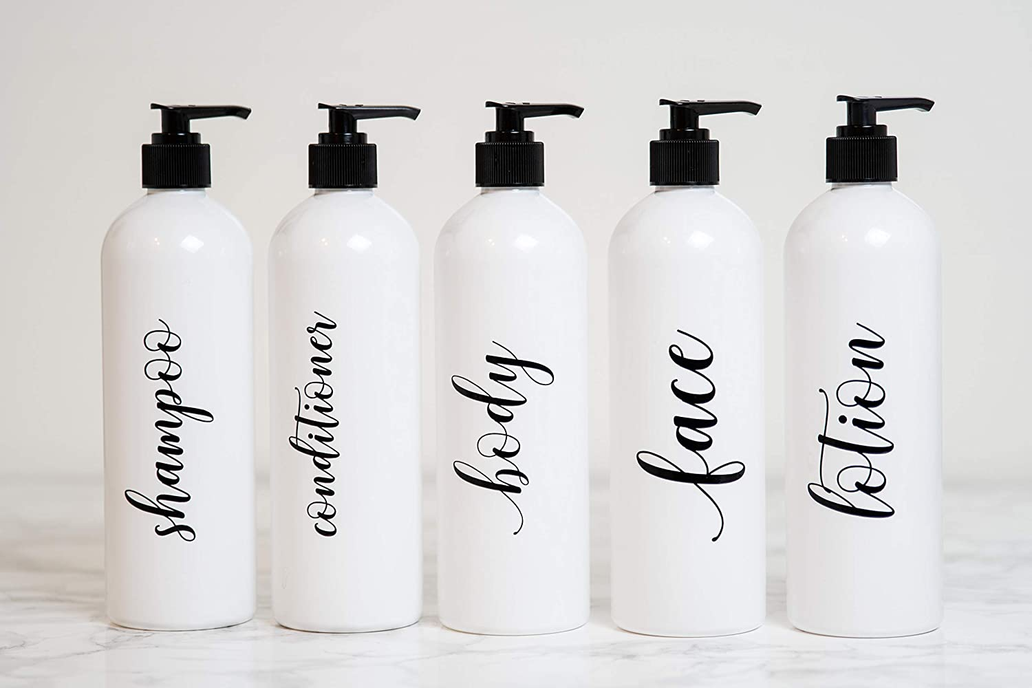 Set of 3 Heartland Lettering Labeled Shower Bottles Refillable Amber Plastic Bottles with Pump 16 oz Shampoo Conditioner and Body Wash Dispensers for Shower
