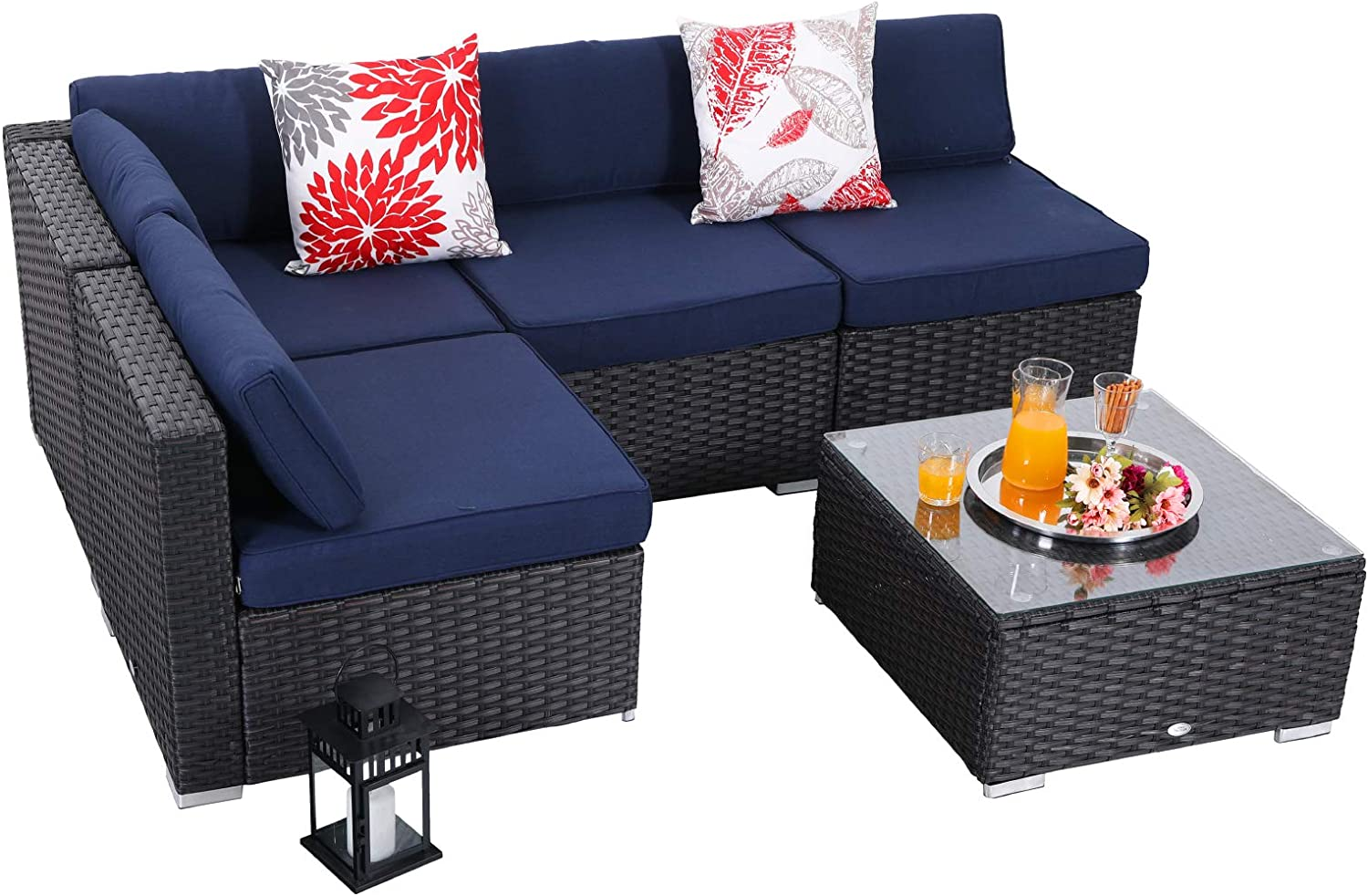 Phi Villa 5 Piece Outdoor Furniture Set Rattan Wicker Patio Sectional Sofa With Low Back And Tea Table Navy Blue Garden Outdoor