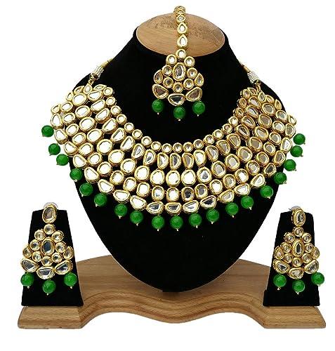 f6f6e448c1be9 Finekraft Big Meena Kundan Dazzling Stone Gold Plated Choker Necklace  Jewelry Set For Girl