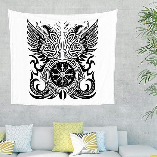 Tapiz de pared con diseño de cuervo celta y runas escandinavas ...