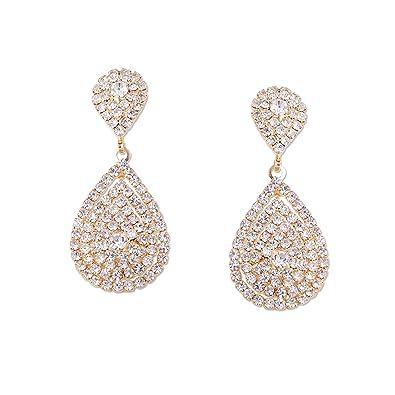 Amazon Com Wedding Earrings Gold Plating Teardrop Dangle Earrings