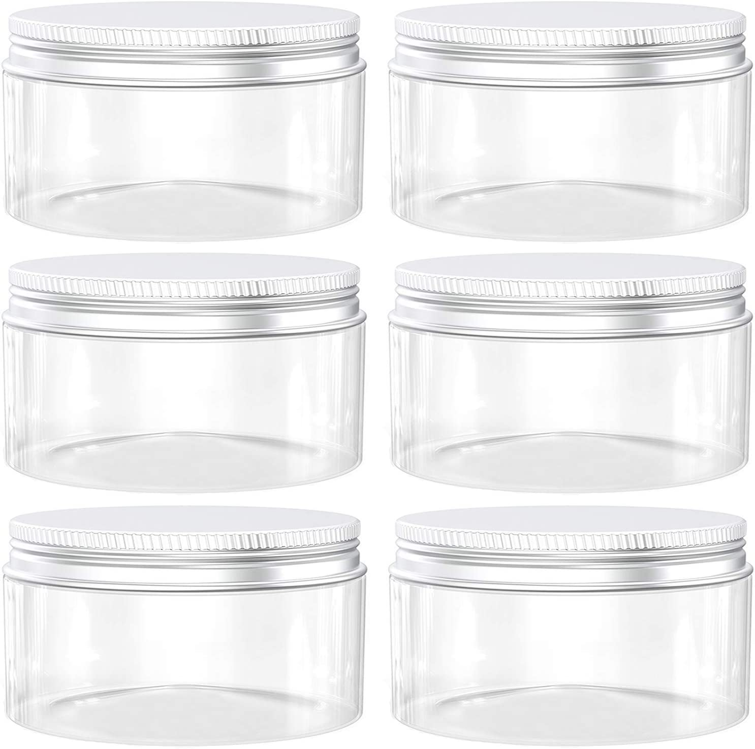 Axe Sickle 10 Ounce Plastic Jars Clear Plastic Mason Jars Storage Containers Wide Mouth With Lids For Kitchen & Household Storage Airtight Container 6 PCS