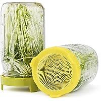 Easy Rinse & Drain Tapas de brotes de plástico para tarros de boca ancha - 6 unidades