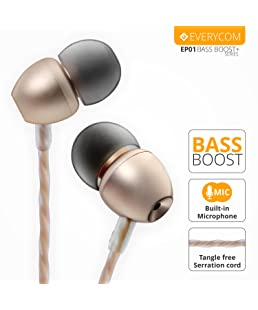 Everycom Bass Boost Wired in-Ear Earphone with Mic Button for All Smartphones - Gold (3 Months Warranty)