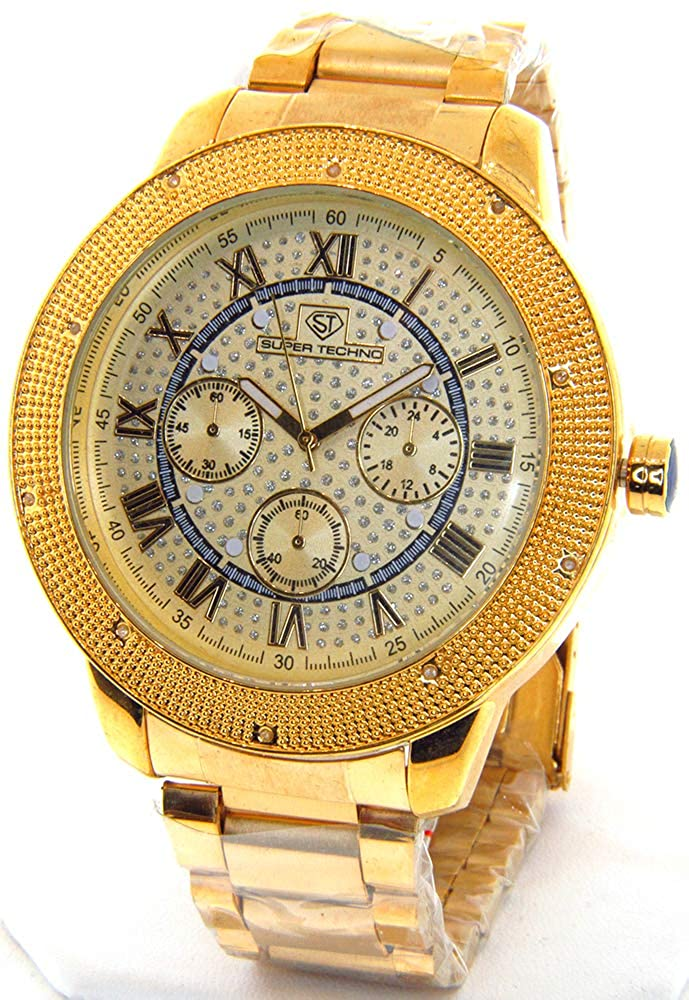 Super Techno Diamond Watch Mens Genuine Diamond Watch Oversized Gold Case Metal Band w 2 Interchangeable Bands