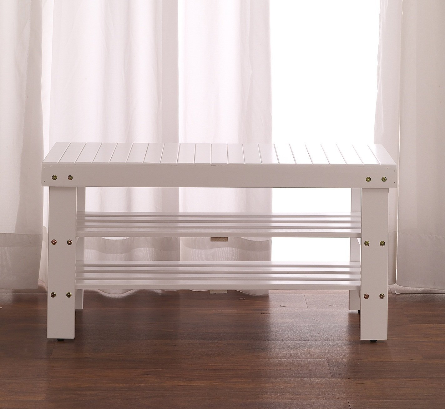 Roundhill Furniture Pina Quality Solid Wood Shoe Bench, White Finish by Roundhill Furniture