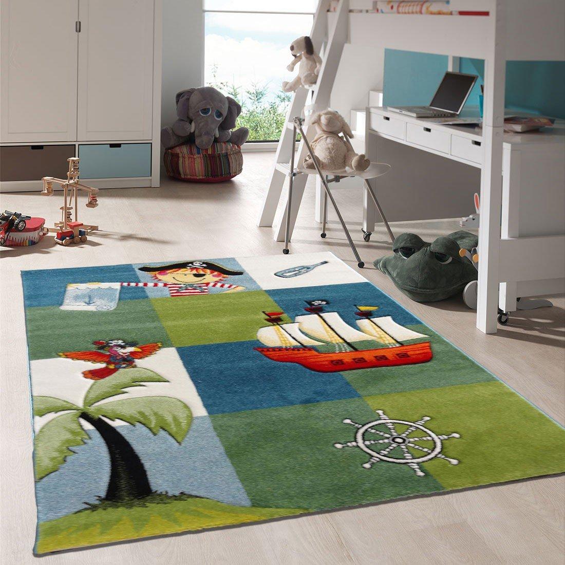 DEZENCO Tapis Chambre Smart Pirate Bleu 60 x 110 cm Tapis Enfant et Disney