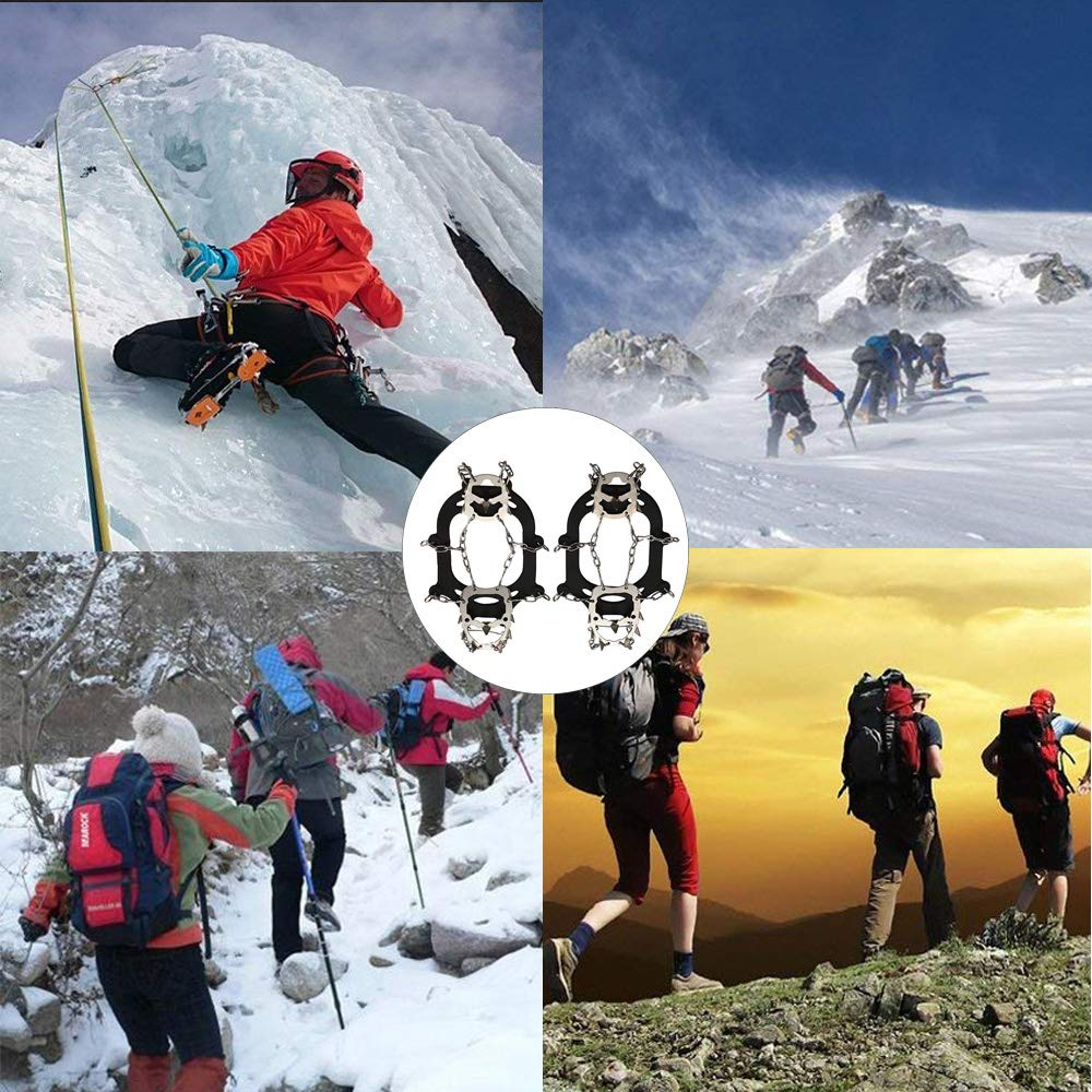Ice Snow Grips Anti Slip Shoes Crampons 18 Teeth Stainless Steel Spikes for Winter Walking Hiking Climbing Jogging Size M Ravifun Traction Cleats