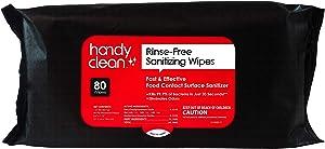 Handyclean Rinse Free Sanitizing Wipes Food Contact Safe Sanitizing Wipes 80ct soft pack, 12 pack case (total 960 wipes)