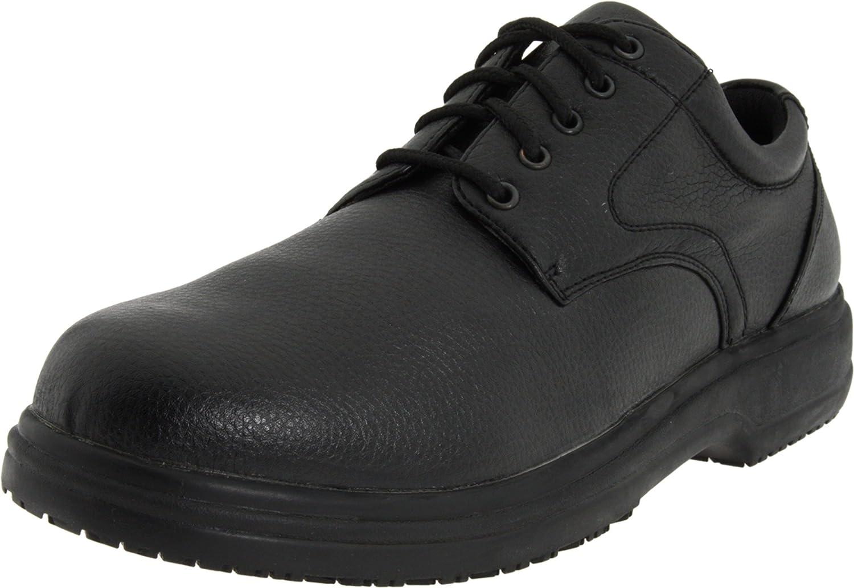 Deer Stags Mens Service Memory Foam Slip Resistant Oil Resistant Non Marking SR Dress Comfort Oxford, Black, 8