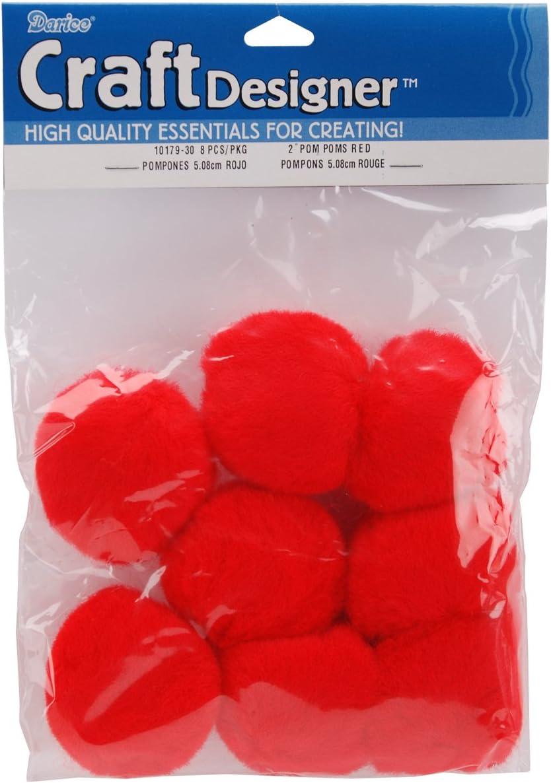Darice 8-Piece Acrylic Pom Pom, 2-Inch, Red: Arts, Crafts & Sewing
