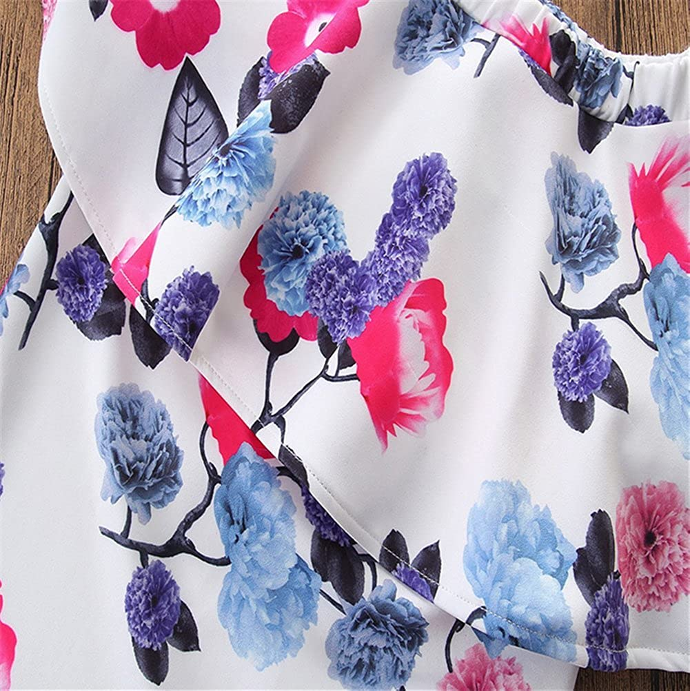 2Pcs Toddler Girls Clothes Set Off Shoulder Floral Tops Wash Retro Long Denim Pants Outfits Clothes Set