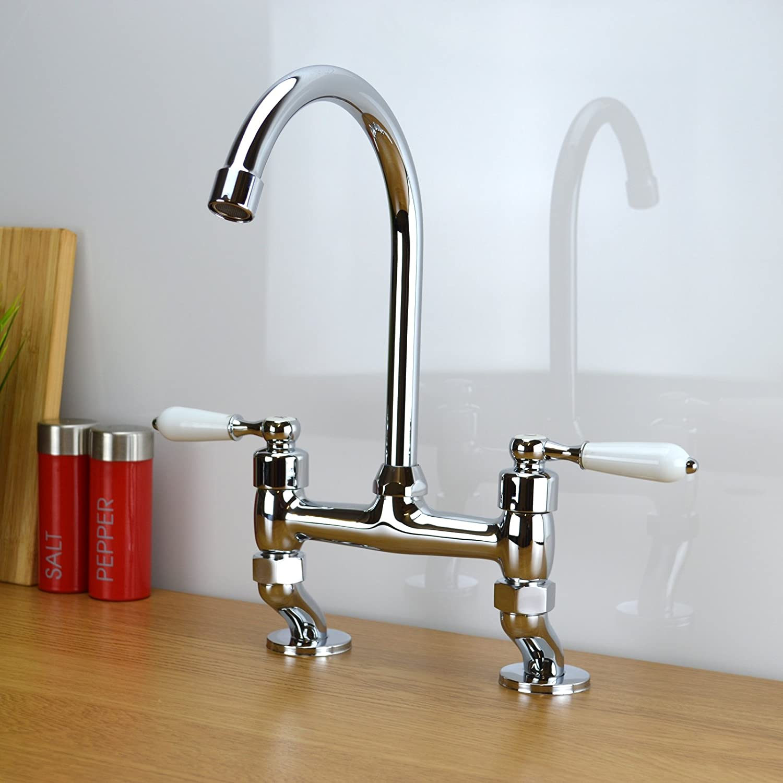 enki classic traditional white lever bridge tap kitchen sink mixer