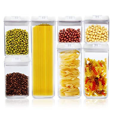 Airtight Food Storage Containers - 7-Piece Set Large To Small Plastic Container Sizes With Easy Lock Lids - Stackable, BPA Free - Perfect For Preserving Dry Food, Flour, Coffee