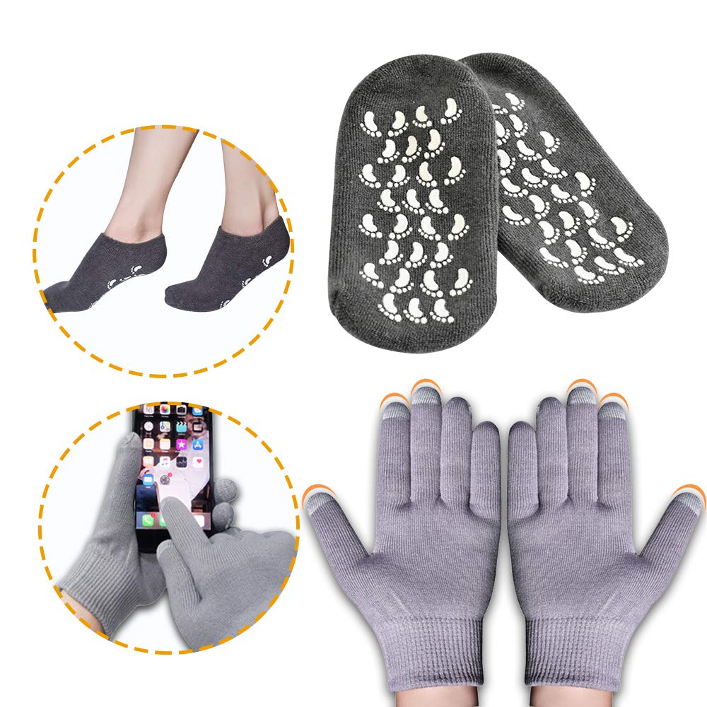Moisturizing Socks and Gloves, Gel Socks Soft Moisturizing Socks, Gel Spa Socks For Repairing and Softening Dry Cracked Feet Skins, Gel Lining Infused with Essential Oils and Vitamins : Beauty