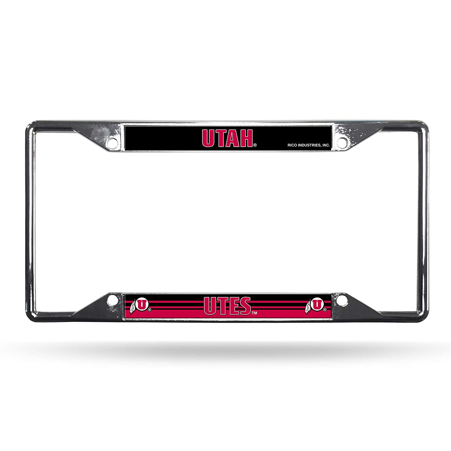 Rico Industries NCAA Utah Utes Easy View Chrome License Plate Frame