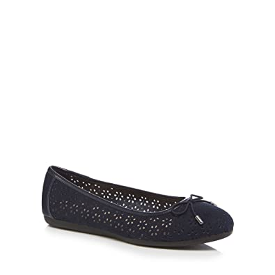 e8aaa392a661 Good for the Sole Navy Suedette  Giggle  Laser Cut Wide Fit Ballet Pumps 3