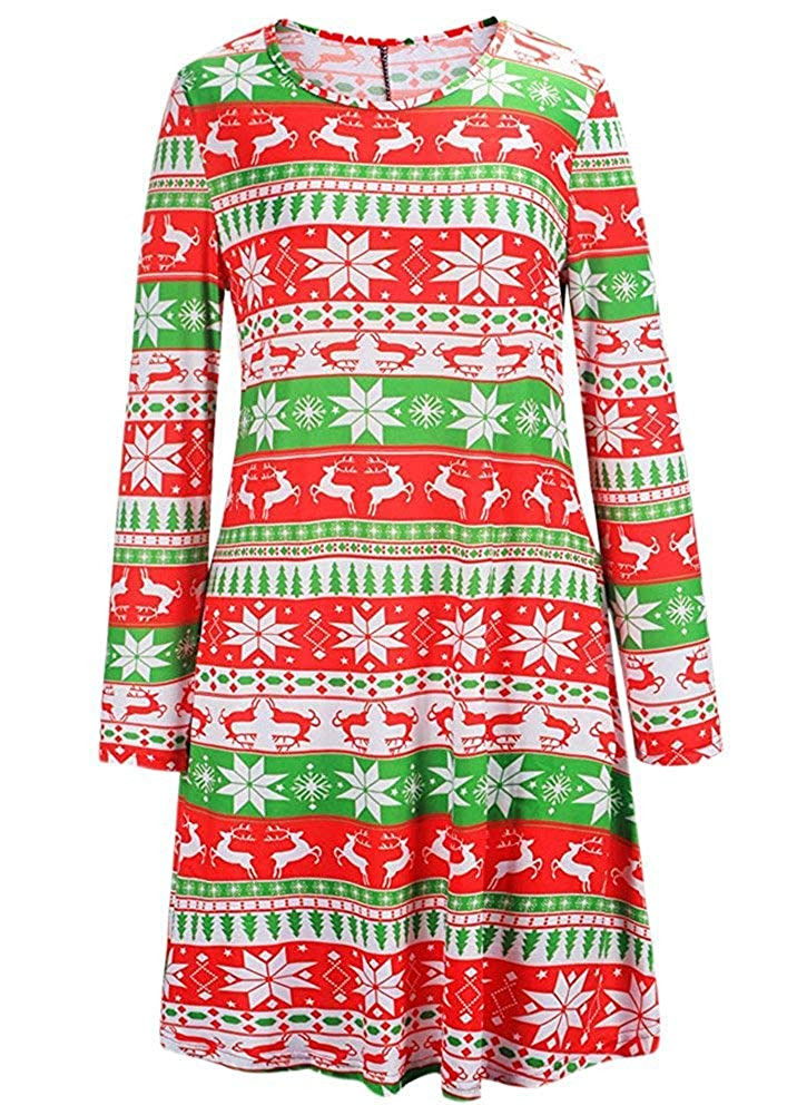 Christmas Pattern For G and PL Women's Christmas Printed Tunic Dress