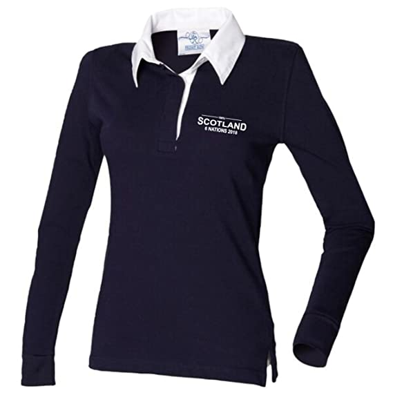 d6621cb02cb 100% Scotland Rugby Six Nations 2018 Rugby Shirt Ladies Navy: Amazon.co.uk:  Clothing