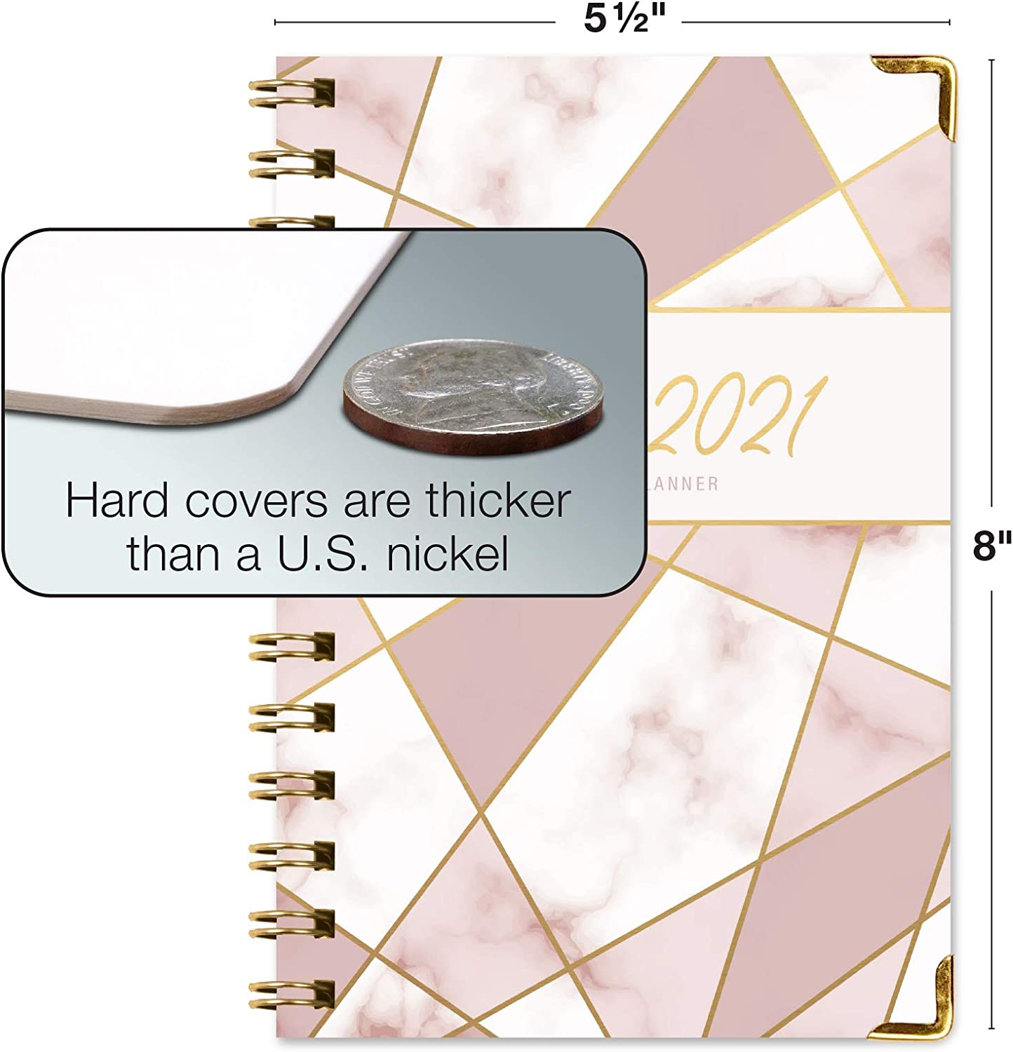 """HARDCOVER Academic Year 2020-2021 Planner: (June 2020 Through July 2021) 5.5""""x8"""" Daily Weekly Monthly Planner Yearly Agenda. Bonus Bookmark, Pocket Folder and Sticky Note Set (New Pink Triangles) : Office Products"""