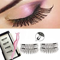Long Dual Magnetic Eyelashes Plus Tweezers , 0.2mm Ultra Thin Two Magnets False Eyelashes, 3D Reusable Fake Lashes, Natural Look 1 Pair 4 Pieces