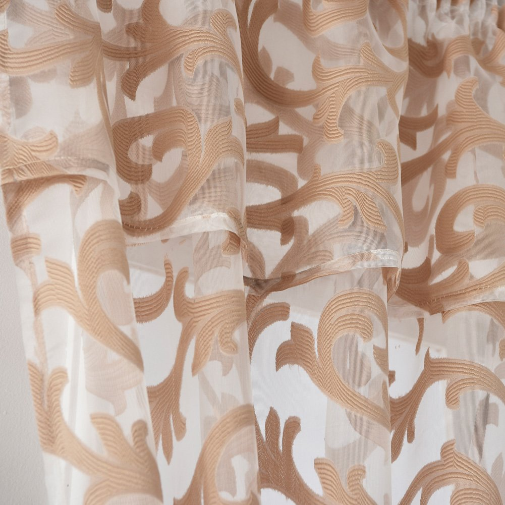 2 Panels: Each 42 Wx45 L, White NAPEARL Jacquard Sheer Curtain Organza Fabric Window Valance Tiers
