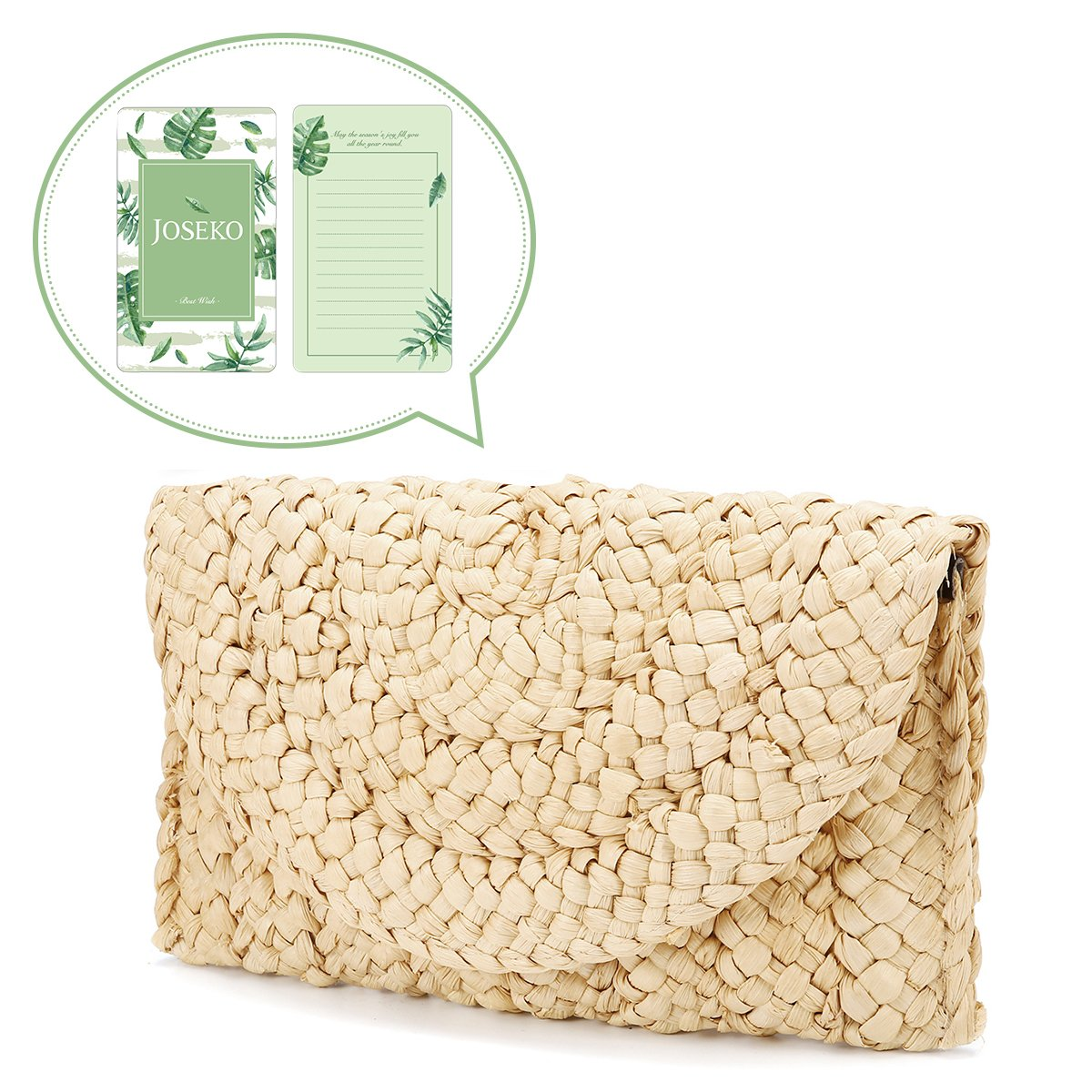 Straw Clutch Handbag, JOSEKO Women Straw Purse Envelope Bag Wallet Summer Beach Bag JOSEKOUSRnal1887