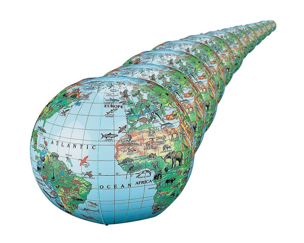 Animal World Globes, Inflatable World Globes with Animals (dozen) by Fun Express