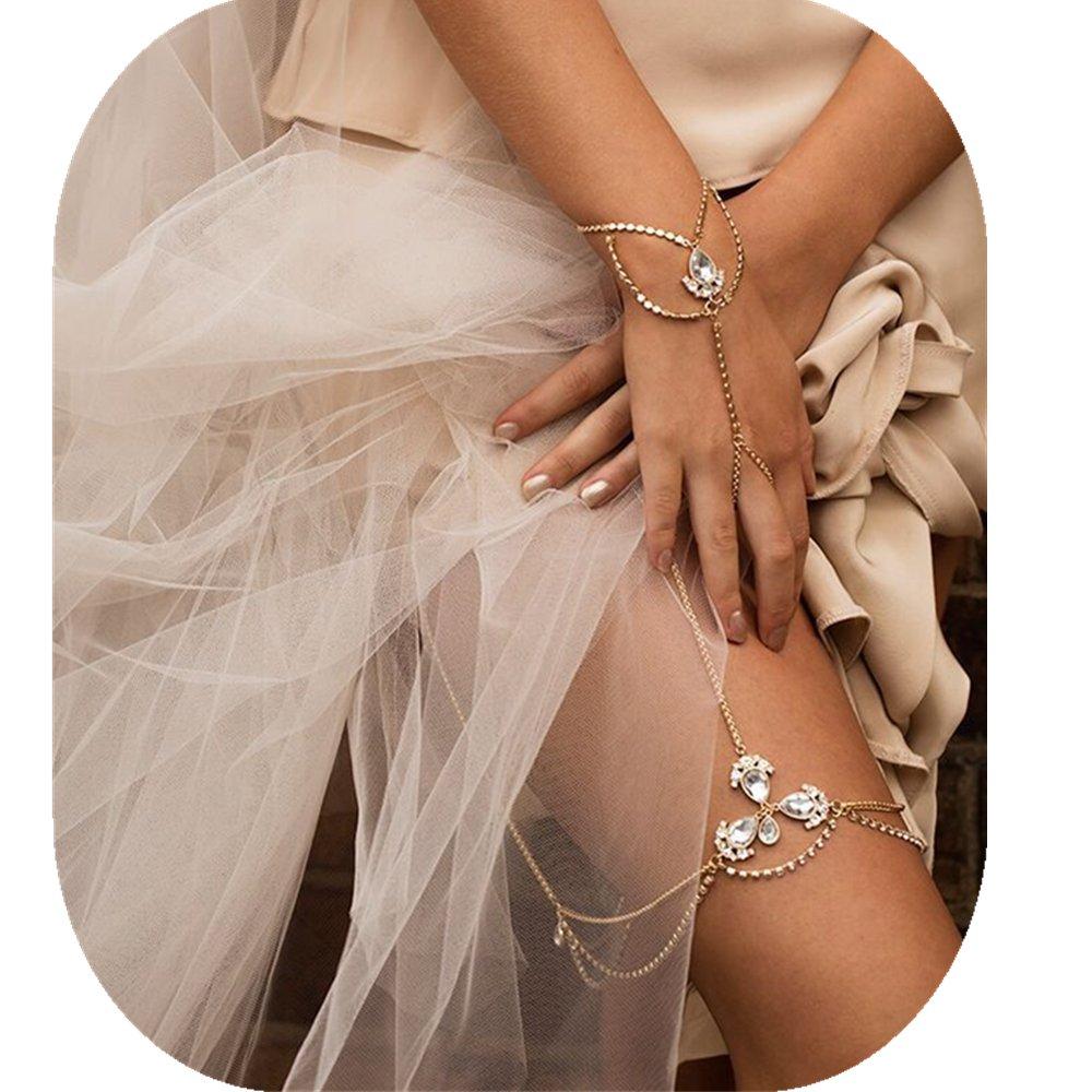 JeVenis Rhinestone Thigh Leg Chain Tassel Leg Chains Bikini Harness Waist Belly Body Chain (Silver)