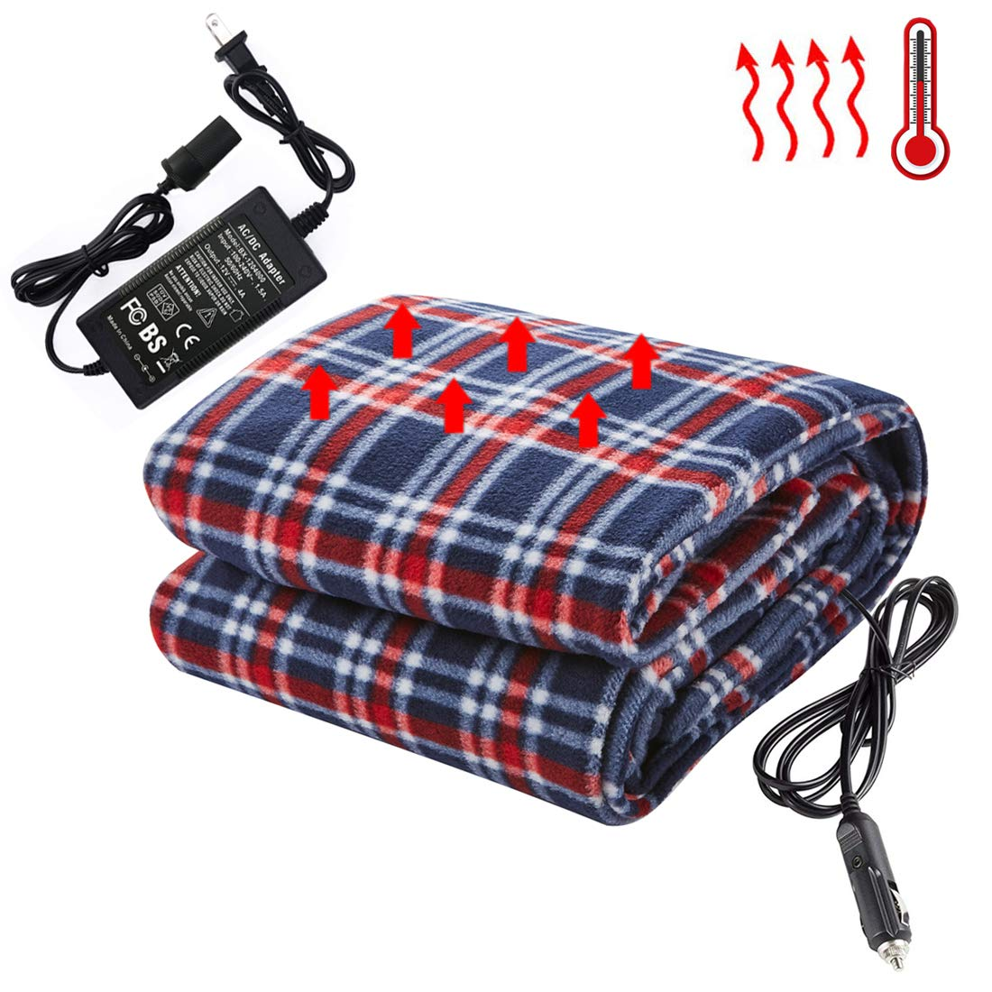 "Big Hippo Electric Car Blanket, 12-Volt Heated Travel Blanket Throw with AC Adapter -Heating Blanket Great for Cold Weather, Camping, Home, Office, Car Use (Red/Blue, 58""x 41"")"