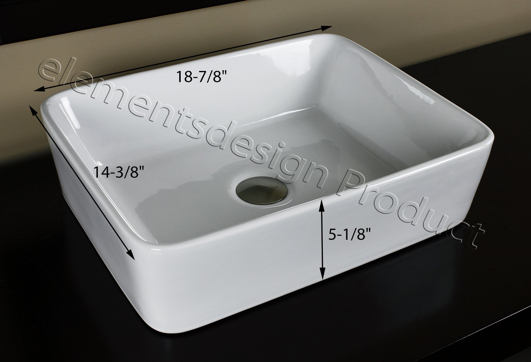 Bathroom Ceramic Porcelain Vessel Vanity Sink 7050L3 combo+ free brushed nickel faucet, Pop Up Drain with no overflow by ELIMAX'S