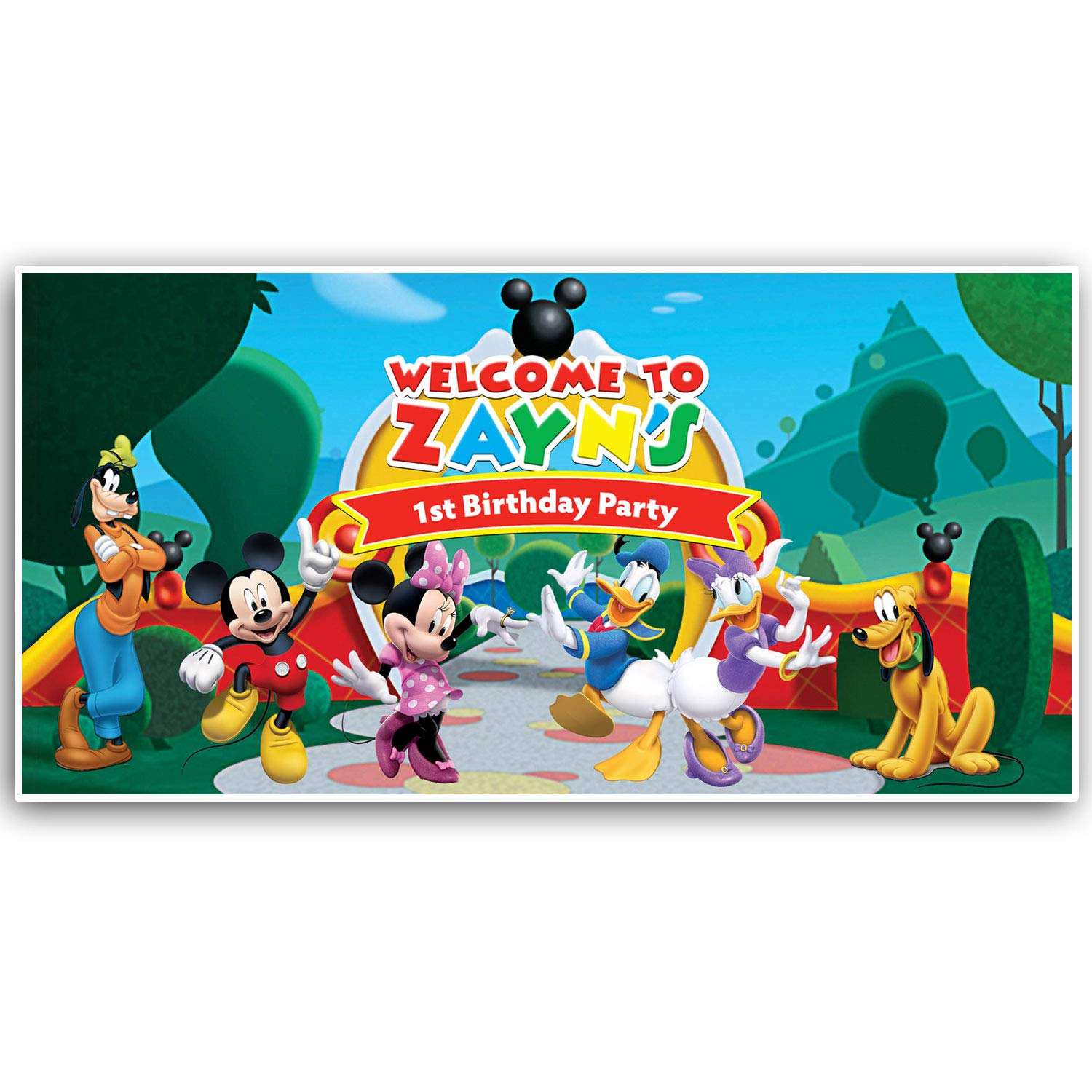 Super Amazon Com Mickey Mouse Clubhouse Birthday Banner Personalized Personalised Birthday Cards Veneteletsinfo
