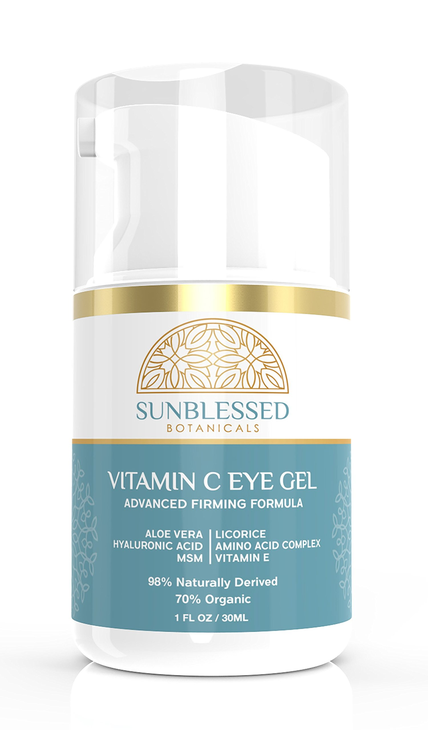 Vitamin C Eye Gel for Under Eye Bags Treatment Dark Circles Puffiness Wrinkles Crows Feet and Anti Aging Skin Care with Hyaluronic Acid Made in USA by SunBlessed Botanicals by SunBlessed Botanicals (Image #6)