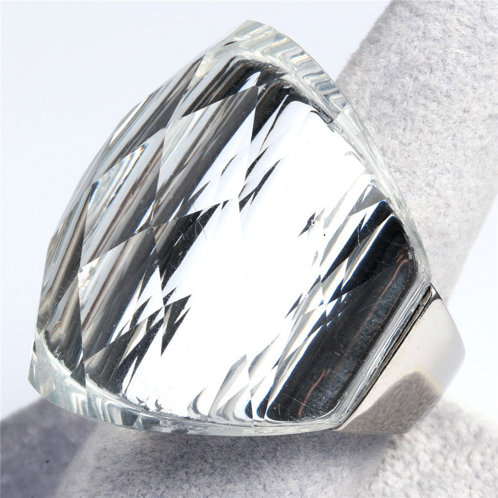 Oakky Womens Stainless Steel Vintage Simple Big Shiny Gemstone Wide Wedding Band Ring Size 6 to 9