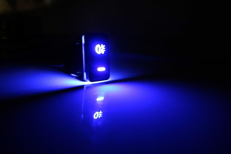 ECPP-AUTOTEILE Factory Style 12V 4-Pole Car Dash Push Fog Switch w//Custom Blue Indicators Lights 200 Series 39mm x 21mm