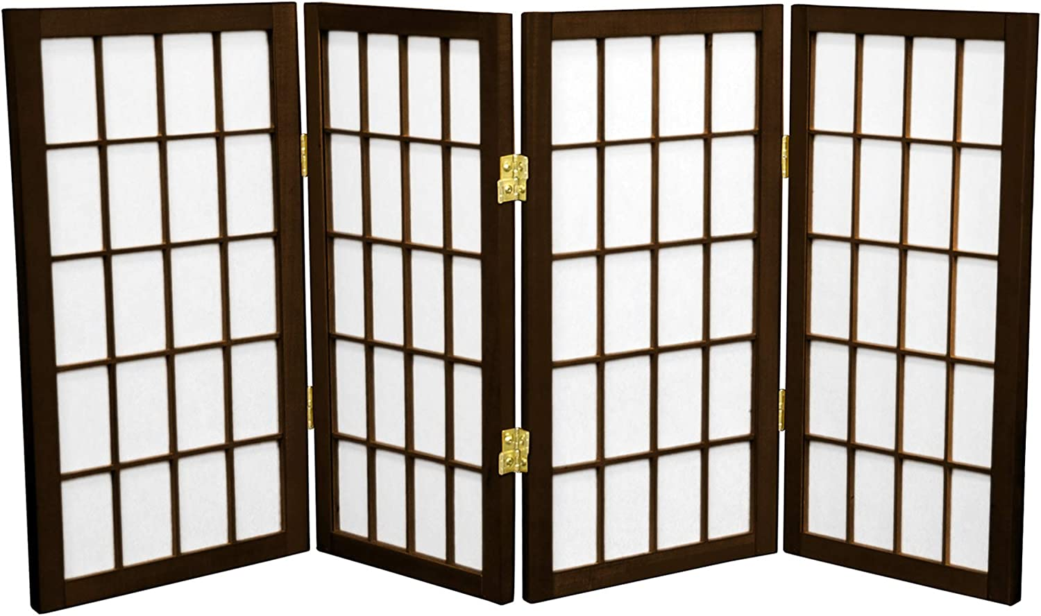 Oriental Furniture 2 ft. Tall Desktop Window Pane Shoji Screen - Walnut - 4 Panels