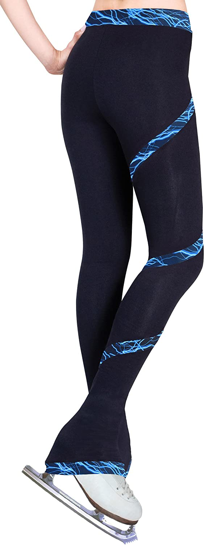 Figure Skating Spiral Polartec Polar Fleece Pants Lighting Foil Blue Adult Large