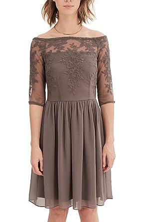 ESPRIT Collection Damen Kleid 037EO1E009, Braun (Taupe 240), 34  (Herstellergröße  8123b534d2