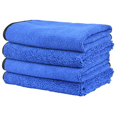 KinHwa Car Towels Microfiber Drying Dual Weave Automotive Wash Towel Auto Detailing Cleaning Cloth Scratch Free 400gsm 16Inch x 16Inch 4 Pack Blue: Automotive