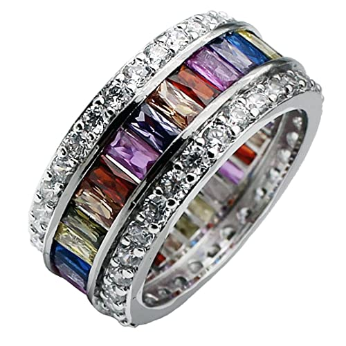Womens Multicolor Band Baguette Gemstone Rings