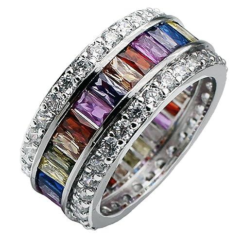 Womens Multicolor Band Baguette Gemstone Rings