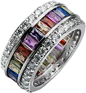 Hermosa Womens Multicolor Band Baguette Gemstone Rings 925 Sterling Multicolor Ring Sizes 6 to 12