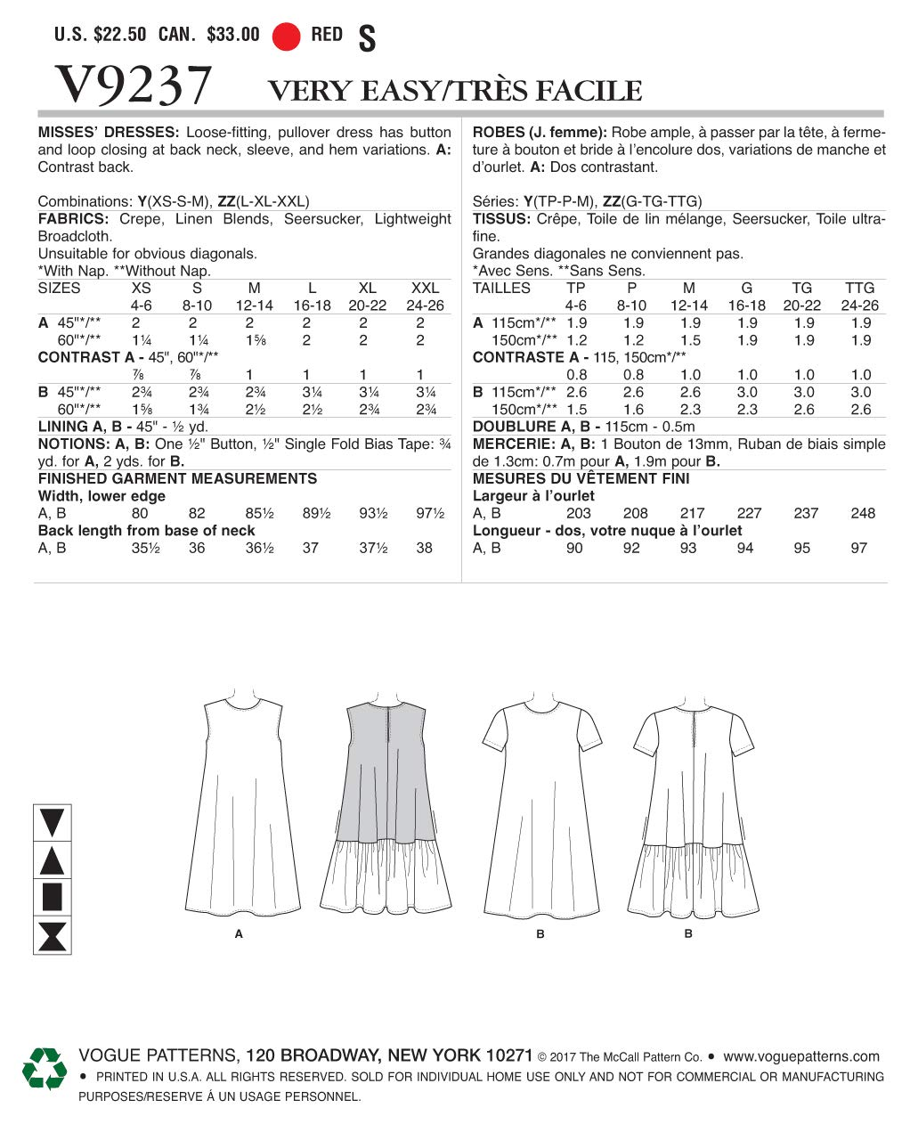 Vogue Patterns vestiti da donna, taglie xsm-med