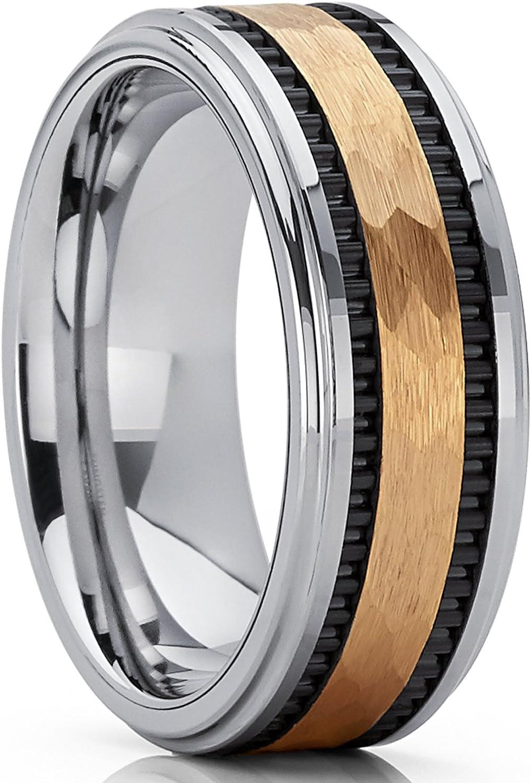 8mm Bague de mariage en tungst/ène or Anneaux de fiancailles en tungst/ène pour homme int/érieur Confort Metal Masters Co
