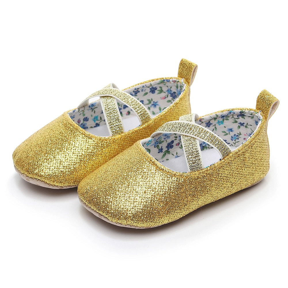 Lurryly Infant Baby Girls Leather Sole Summer Sandals First Walkers Single Shoes 0-9 M