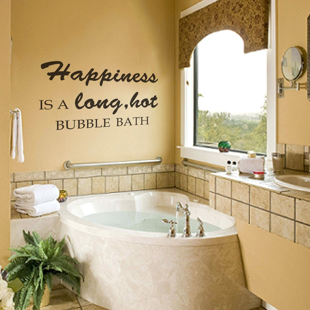 Amazon.com: Happiness Is A Long Hot Bubble Bath Vinyl Wall Decal ...