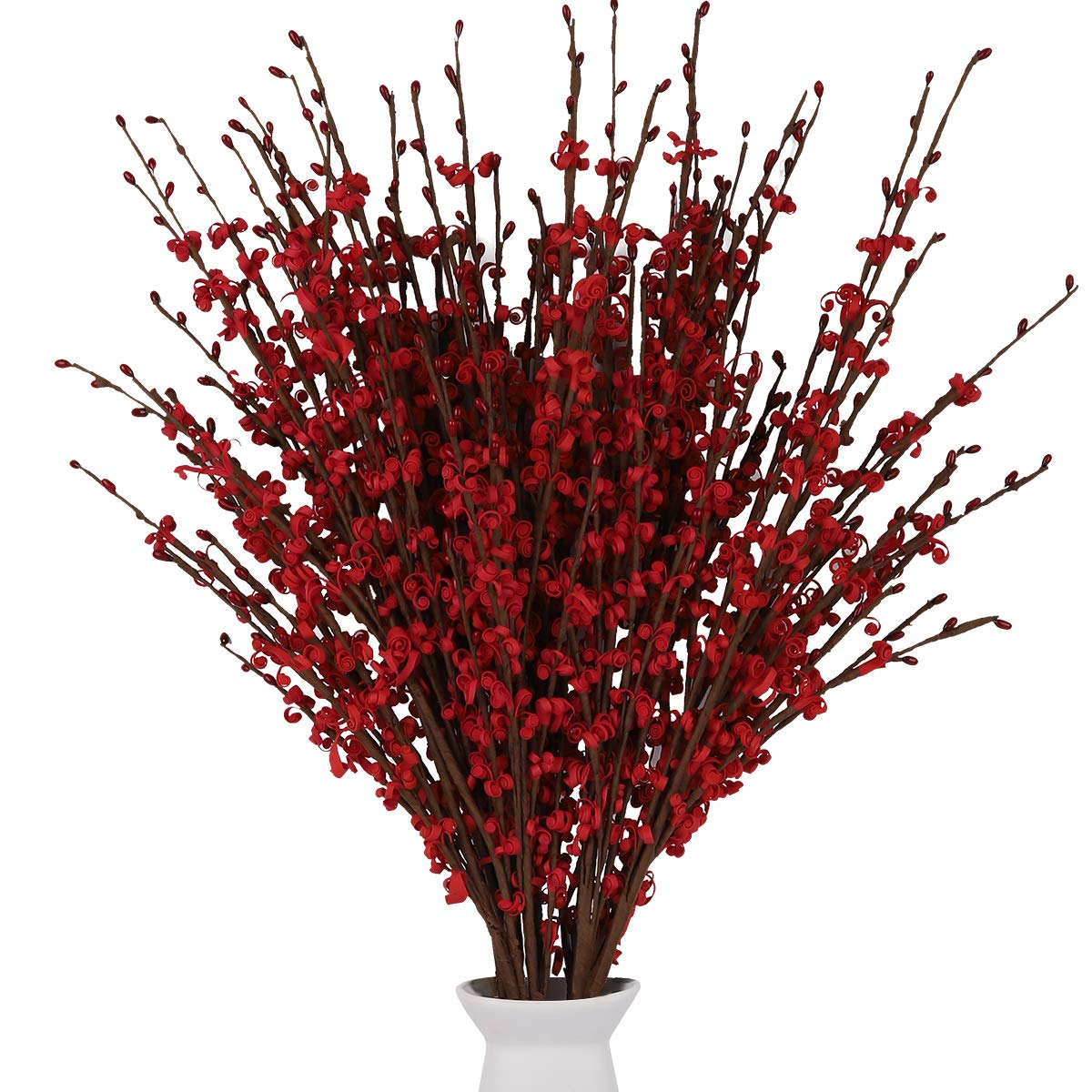 """Artificial Flowers 12 Pcs Faux Jasmine Fake Flower 29.5"""" Long, PE Material Roll Artificial Flower Plants for DIY Home Office Party Hotel Restaurant Wedding Decor (Red)"""